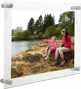 """Clear Acrylic Floating Picture Frame Wall Mount Double Panel 11X14"""" Photo Frame"""
