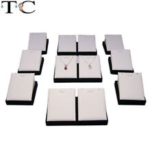 12pcs Jewelry Display Pendant Stand Tower White PU Necklace Holder Showcase
