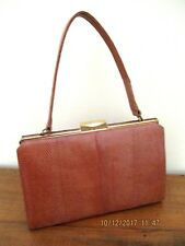 -VINTAGE WOMEN'S LIZARD SKIN BROWN HANDBAG - VGC~