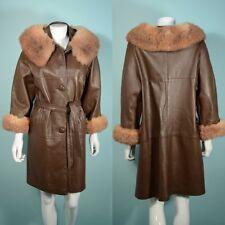 Vintage 60s Brown Leather Coat Opossum Fur Trim + Belt, Loose Fit Waist