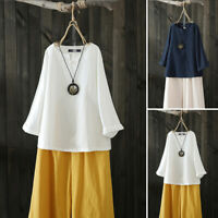 Women Long Sleeve Casual Plain Shirt Tops Loose Oversize Blouse Ethnic Tops Plus