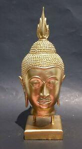 Vintage Brass Crafted Shakyamuni Buddha Head Sculpture Art  new gilt painted