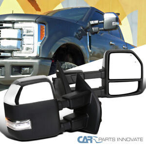 For 17-19 Ford F250 Super Duty Power Heat BSM Temp Sensor Tow Mirrors+LED Signal
