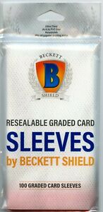 1 Pack of 100 Beckett Shield Resealable Graded Card Sleeves Bags