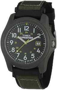 "Timex T42571, Men's ""Expedition Camper"" Black/Green Nylon Watch, Date, Indiglo"