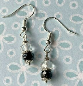 Brighton LATIKA Black & Clear White Crystal Silver Beads Custom Earrings