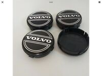 BRAND NEW - VOLVO  ALLOY WHEEL CENTRE CAPS  SET X4 EMBLEM BLACK SILVER 64MM
