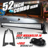 "52"" 700W CREE LED Light Bar A Pillar Mount Brackets Offroad For Jeep Wrangler JK"
