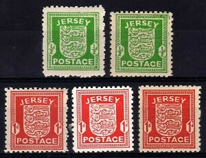 WW2 GERMAN OCCUPATION ISSUES: JERSEY 1941-3 ALL PAPER TYPES HINGED MINT (5)