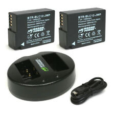 2x WASABI POWER BATTERY + CHARGER FOR PANASONIC DMW-BLC12, DMW-BLC12PP, DE-A79B