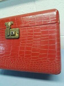 Vintage Luce Train Makeup Case Travel Tote Luggage Red Alligator Mirror L-U-C-E