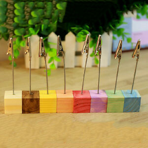 Wooden Memo Paper Note Picture Table Card Number Photo Clip Jr ZW