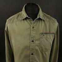 Tommy Hilfiger Mens DENIM Shirt LARGE Long Sleeve Green Regular Fit Cotton