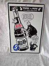 Pepsi Tin Sign Pepsi & Pete Advertising Cola Soda Pop Man Cave Cartoon Police