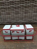 Salt & Pepper Ceramic Novelty Cruet Set Salt & Pepper Chilli Design & Tray