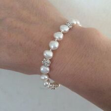 DESIGNER FRESHWATER PEARL DIAMANTE BRIDAL BRACELET STERLING SILVER TOGGLE CLASP