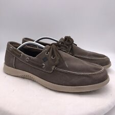 Sperry Top Sider Men's 2-Eye Brown Canvas Boat Shoes Sz 11.5 Casual STS13171