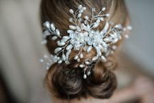 Braut Haarkamm - Floraler Zierperlen Haarkamm in Silber