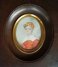 (B042) Miniatur Portrait einer Biedermeier Dame, Gouache, Miniaturist um 1850