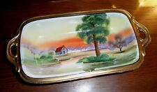 Hand Painted NIPPON House Lake Scenery Gold Handled Candy Dish VGC