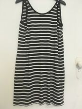 WITCHERY black/white striped scoop back tank dress 12
