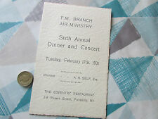 Fm Branch Air Ministry 1931 Annual Dinner & Concert Menu Coventry Res Piccadilly