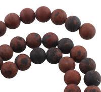 45 Edelsteine Perlen Rot Mohn Obsidian Matt 8mm Schmucksteine A Grade G767#3