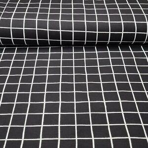 Soft Sweatstoff mit Gitter Grid - Schwarz