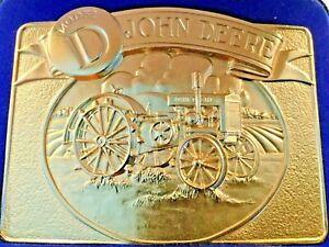 John Deere 1981 Combine Brass Belt Buckle NIP