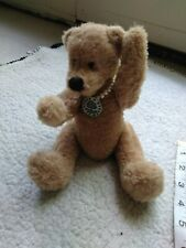 "Crabtree & Evelyn Rebecca Teddy Bear Plush 6"" Seated Limited Edition Necklace"