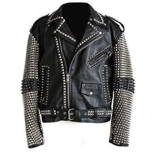 New Mens Full Black Punk Silver Spiked Studded Cowhide Leather Jacket