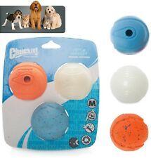 Chuckit! Fetch Medley, 3 Pk Assorted Medium, Small Balls 6.5cm Max Glow, Whistle