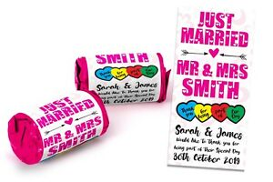 x100 Wedding Favours Personalised Love Hearts Mini Love Sweets Just Married #9