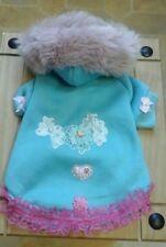 Designer small/medium/dogs clothes  fleece turquise & pink fur hood bling  coat.