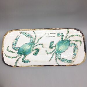 """TOMMY BAHAMA Melamine CRAB Serving Tray Platter Plate Ocean Beach Turquoise 15"""""""