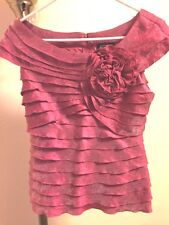 ADRIANNA PAPELL EVENING ESSENTIALS SALLOPED TOP BLOUSE SZ 4 SHIMMERY PINK/ROSE