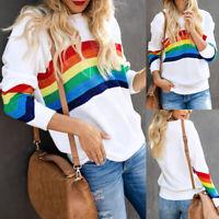 Rainbow Striped Women's Pullover Sweater Casual Long Sleeve Jumper Sweatshirt