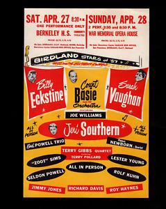 Count Basie, Sarah Vaughan & others, 1957 original handbill