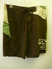 mens VOLCOM brown green tan swim suit trunks shorts sz 34 skateboard surf beach