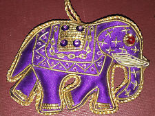 LUCKY ELEPHANT Plush Fabric CHRISTMAS ORNAMENT Purple Gold VINTAGE Indian Style