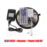 5M SMD RGB 5050 IP65 Waterproof LED Strip Light 44 Key IR Remote 12V Power Kit