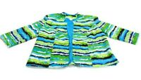 Lavender & Honey Jacket Blue Green Black White Lined Striped Pockets Womens 1X