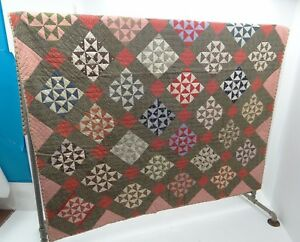 Vintage Sewn Large Checkered Quilt Blanket Geometric Pattern Decorative Used