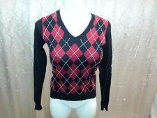 MEXX Collgeraut Pullover feinstrick schwarz rot weiß V-Ausschnitt LangarmGröße S