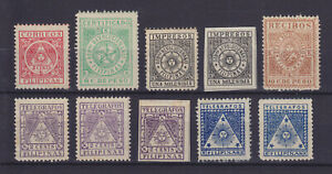 PHILIPPINES 1898-1899, REVOLUTIONARY ISSUE, 10 STAMPS