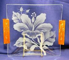 """VINTAGE HAWAIIAN ETCHED HIBISCUS GLASS 7 7/8"""" SQUARE DECO ART BY FRANK ODA"""