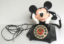 TELEMANIA MICKY MOUSE DESK PHONE ROTARY STYLE PUSH BUTTONS W/REDIAL, TESTED **