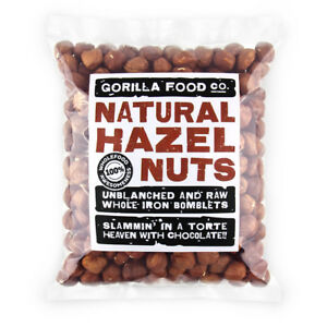 Gorilla Food Co. Natural Hazelnuts Whole Raw - 200g (Great value £ per 1kg)