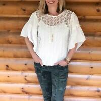 $119 Stella & Dot Gertie Top Perforated Bell Ruffle Sleeve White 2 pcs Set S M