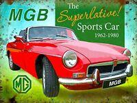 MGB Superlative Sports Car MG Classic Road Car Retro Metal Wall Sign Plaque